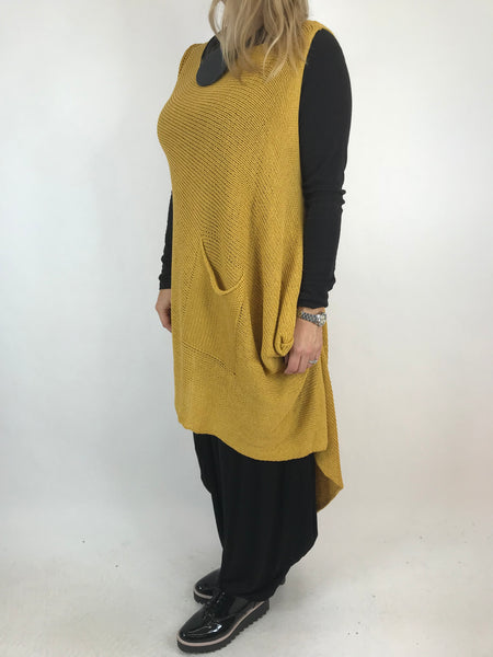 Lagenlook 1 Pocket Cotton knit Tank in Mustard. code 230