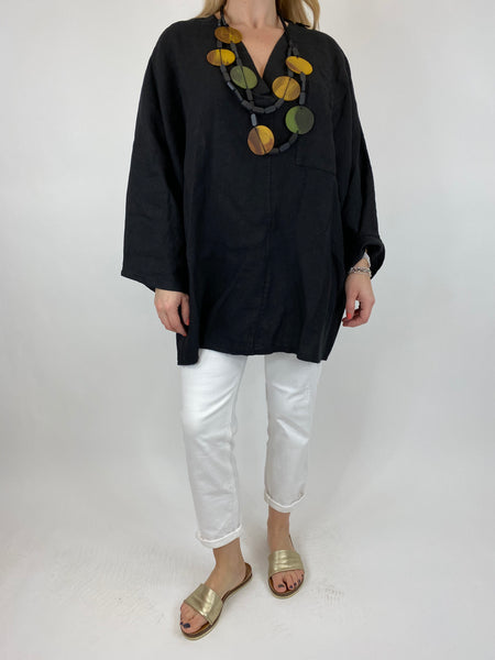 Lagenlook Ava Linen V- Neck Top in Black. code 10297