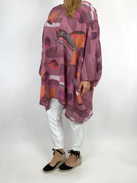 Lagenlook Eve Patterned Top in Mulberry Pink. code 910066