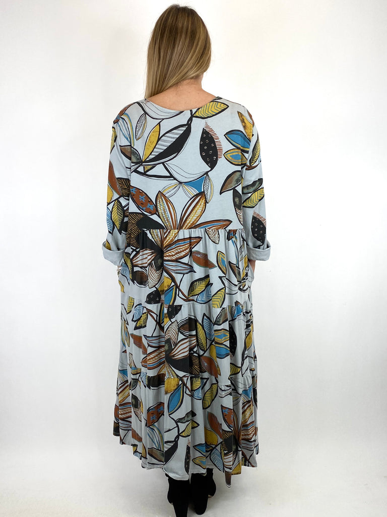 Lagenlook Amy Winter Leaf Midi Tunic Pale Grey. code 9788 - Lagenlook Clothing UK