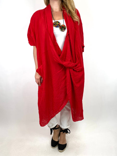 Lagenlook Cotton Wrap Dress Top in Red. code 8307