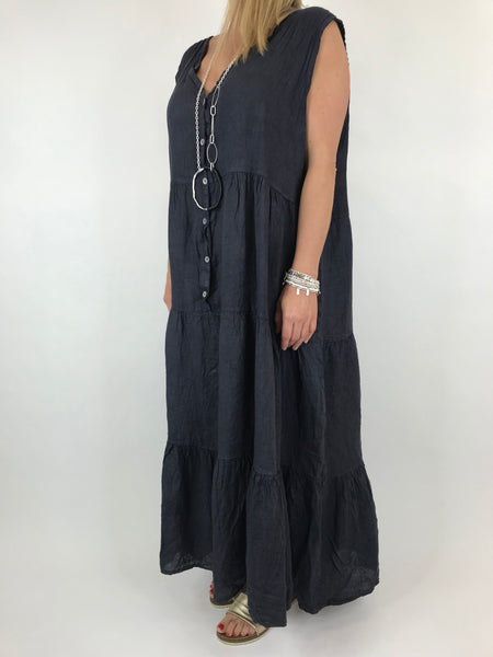 Lagenlook Kate Sleeveless Button Front Linen Tunic in Navy. code 20529