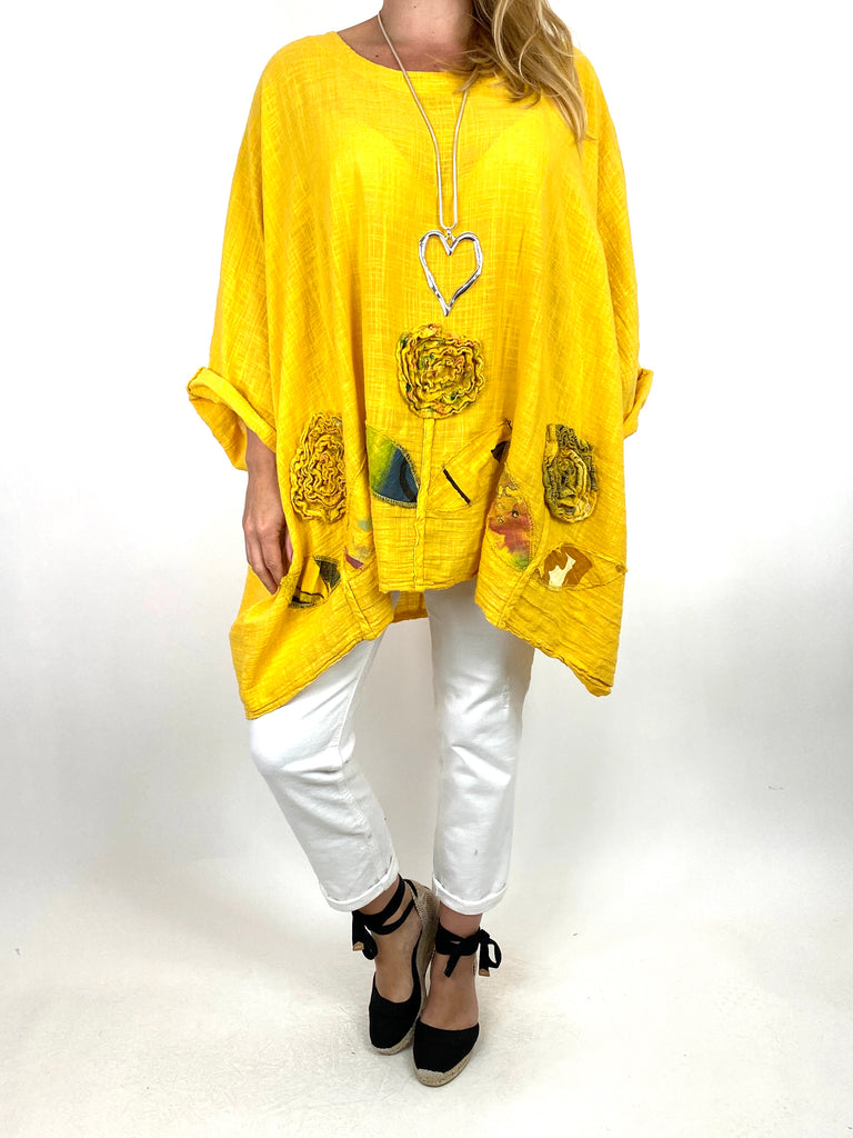 Lagenlook Dalia Flower hem in Yellow . Code 90969