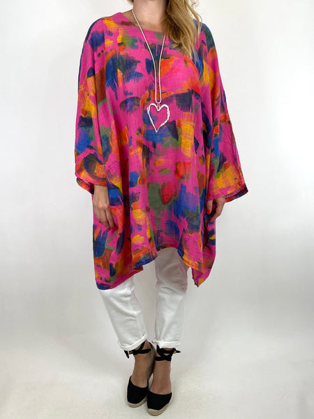 Lagenlook Artist Patterned Summer Top Fuchsia. code 91063