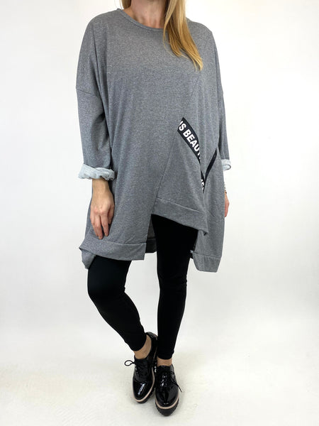 Lagenlook Langdon Tape Sweatshirt in Mid Grey. code 91169