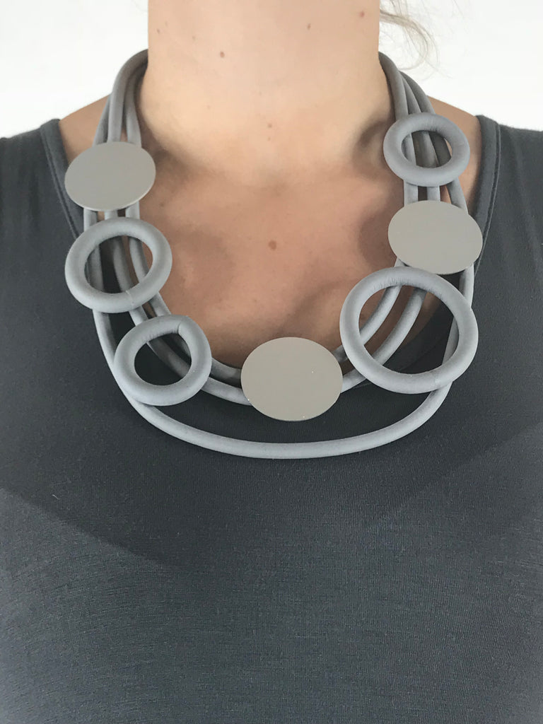 Lagenlook Grey Rubber Hoops & Circle  Necklace. code A37