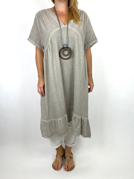 Lagenlook Horton Washed V-Neck top in Stone. code 10436 - Lagenlook Clothing UK