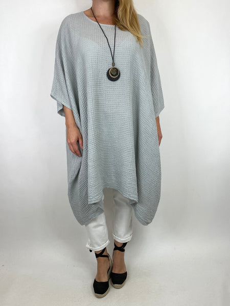 Lagenlook Nancy Cotton Waffle Necklace Top in Pale Grey. Code 8550