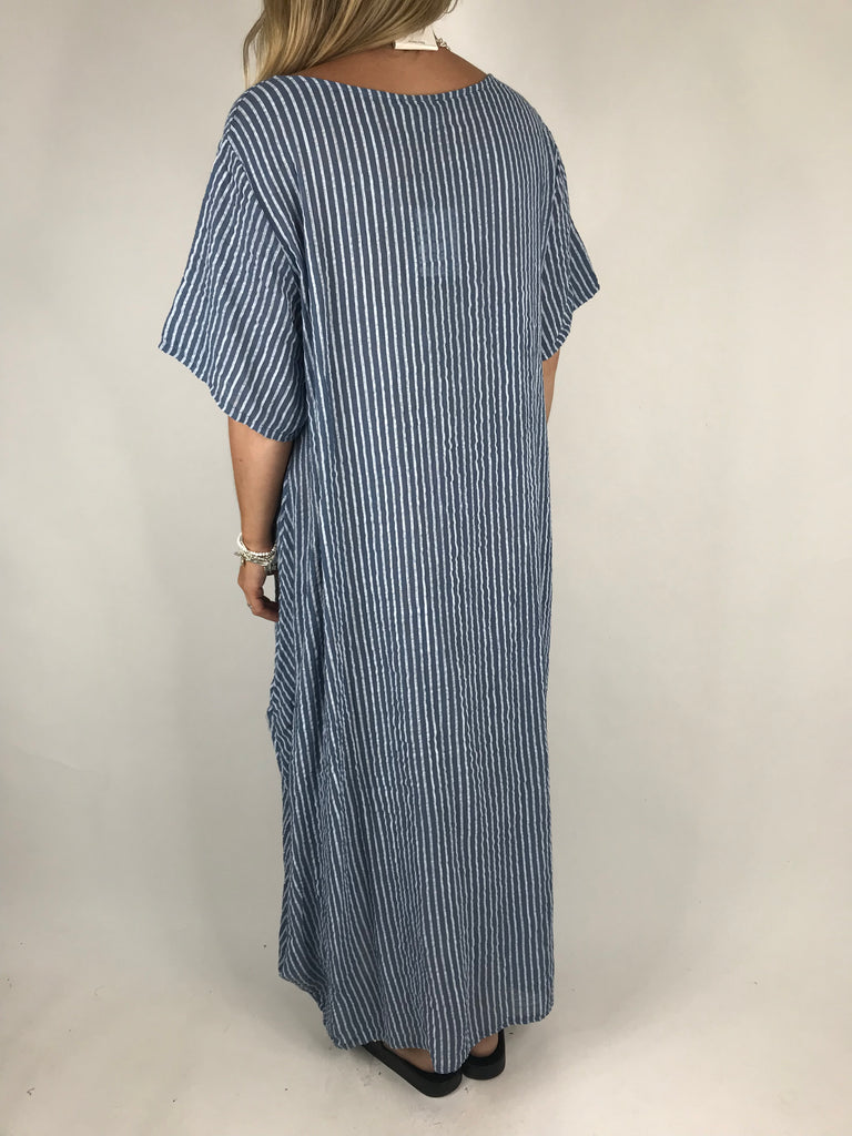 Lagenlook Maria Pinstripe Summer Tunic Dress in Denim Blue. code 5769