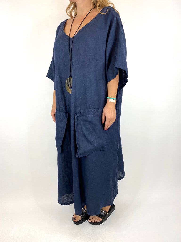 Lagenlook Deana V- Neck Linen Tunic in Navy . code 8588