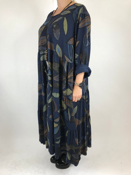Lagenlook Made in Italy Winter Leaf Tunic in Navy. code 9788