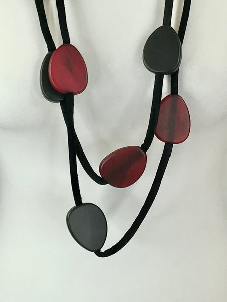 Lagenlook Statement Black and Red Pebble Necklace .Code BC-110