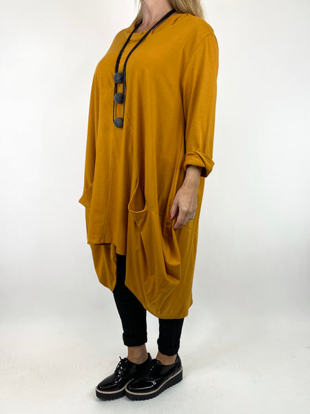 Lagenlook Ada Parachute Dress in Mustard. code 91048 - Lagenlook Clothing UK