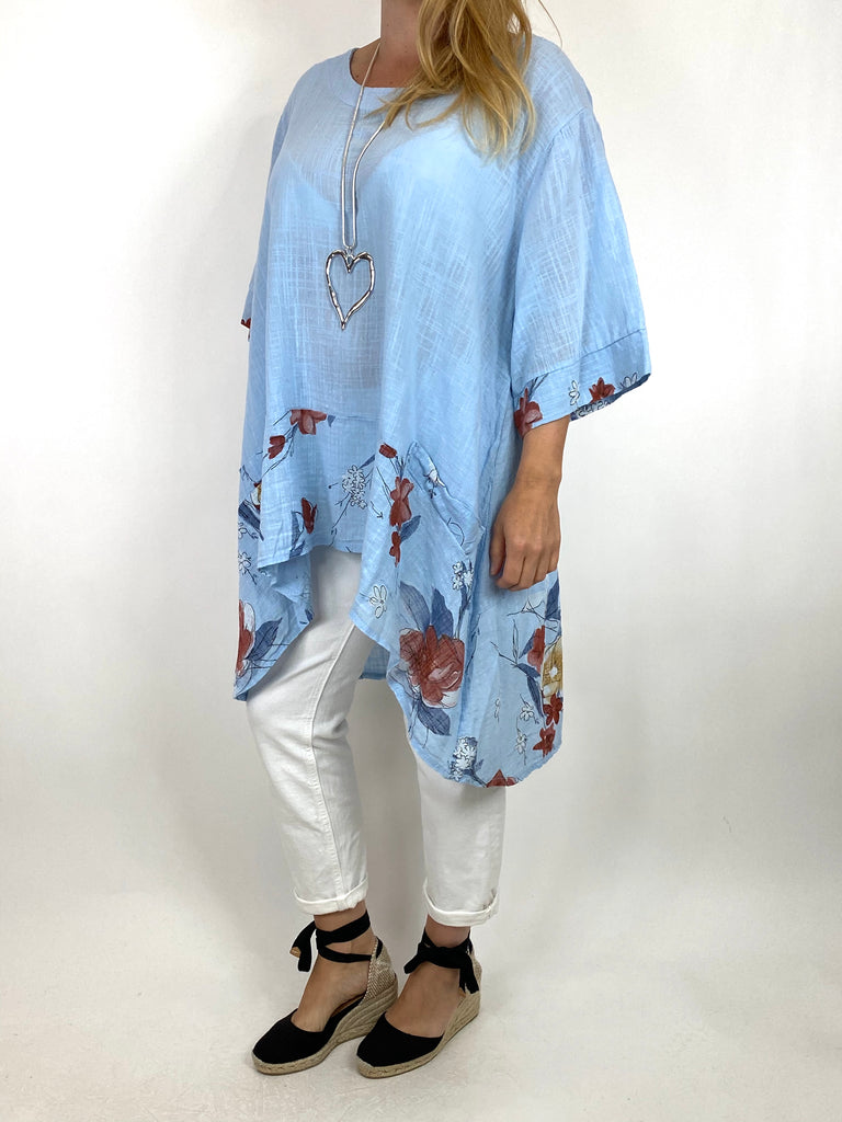 Lagenlook Sam Flower Hem Cotton Top in Sky.code 10017