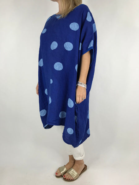 Lagenlook Lara  Dot Linen Tunic in Royal Blue .code 5868