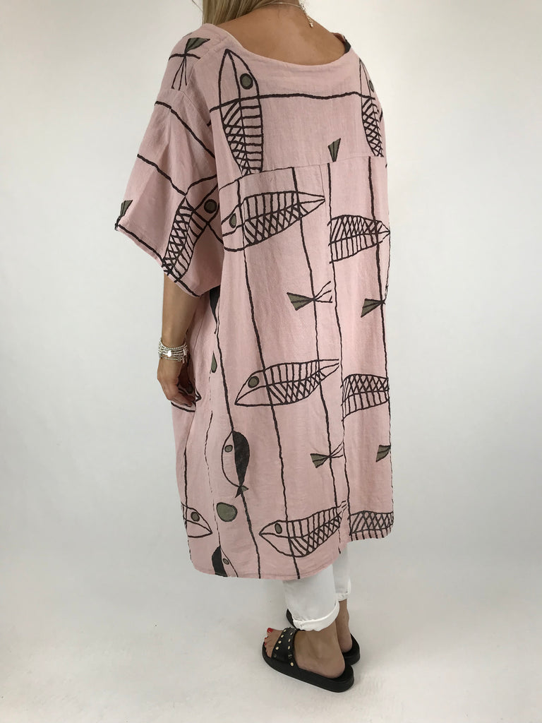 Lagenlook Sarbo Quirky Patterned Top in Pink. code 39114