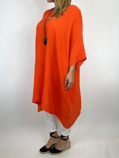 Lagenlook Nancy Cotton Waffle Necklace Top in Orange. Code 8550