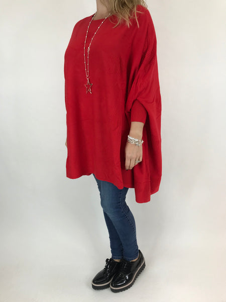 Lagenlook Calia Star Poncho Knit in Red. code 47352