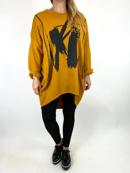 Lagenlook Pip Paint Splash Zip Cotton Sweatshirt Top in Mustard. code 91181 - Lagenlook Clothing UK