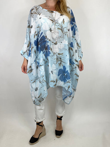 Lagenlook Monica Flower Top In Sky. code 7365