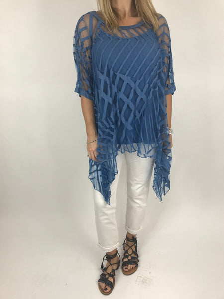 Lagenlook Lazer Cut Net Layering Top in Denim. code 18042