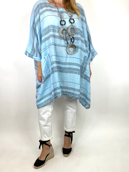 Lagenlook Maggie Stripe top in Sky Blue .code 8365