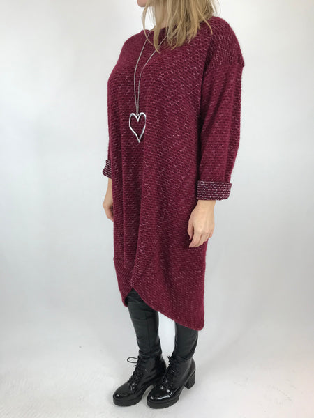 Lagenlook Nancy Winter Tunic in Wine. code 5532