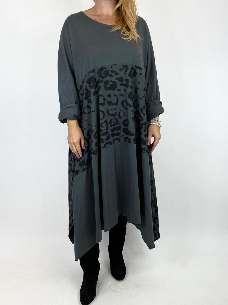 Lagenlook Chrissy Cheetah Panel Tunic in Charcoal. code 10356 - Lagenlook Clothing UK