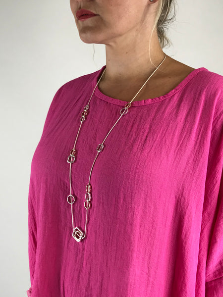 Lagenlook Square Fall Necklace in Sliver. code N661silver