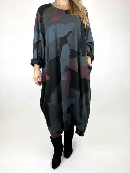 Lagenlook Elin Paint Splash Print Tunic in Black. code 9807