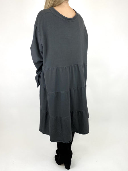 Lagenlook Olivia Frill V- Neck Top in Charcoal. code 10538 - Lagenlook Clothing UK
