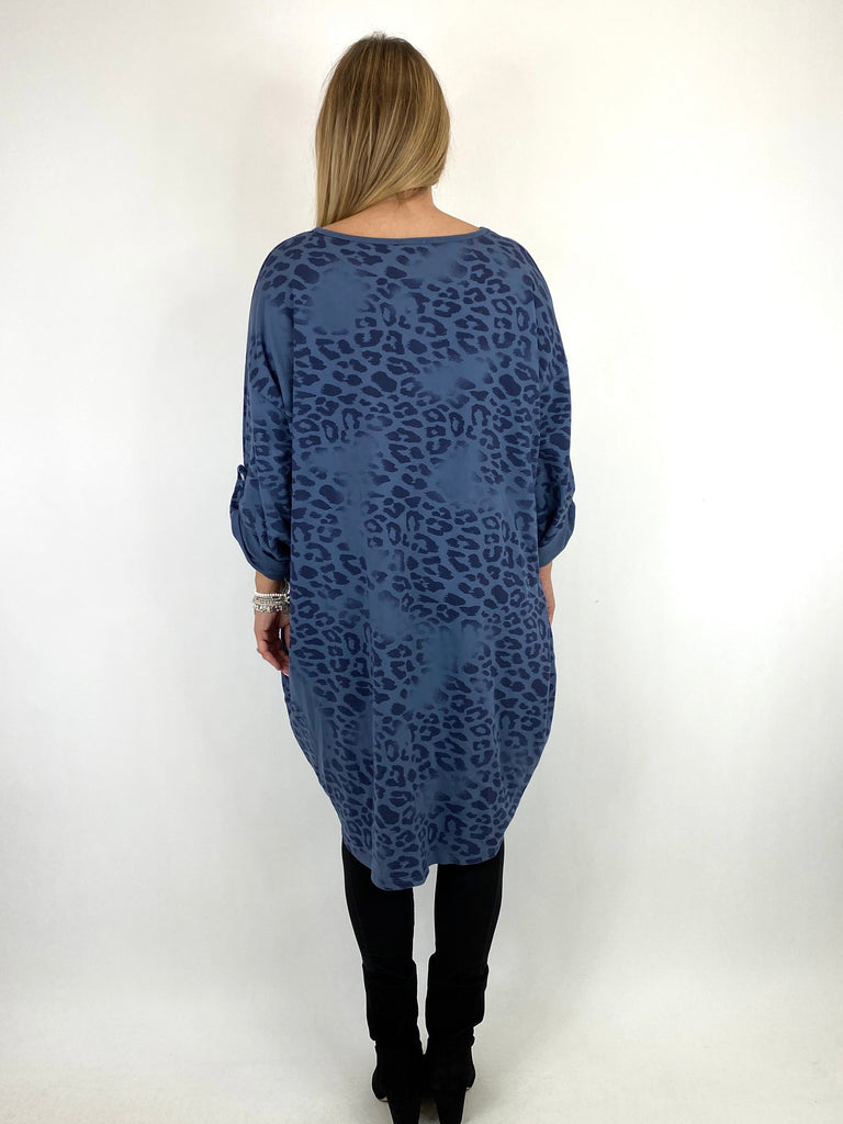 Lagenlook Jo Leopard Fade Print Sweatshirt Top in Denim. code 66237 - Lagenlook Clothing UK