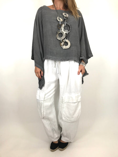 Lagenlook Raw Edge Short Linen layering top in Charcoal. code 02246