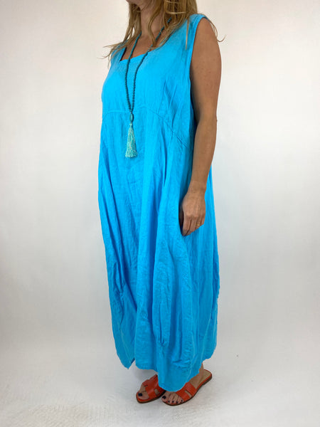 Lagenlook Square neck Linen Tunic Dress Top in Aqua Blue. code 5698