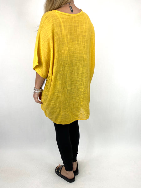 Lagenlook Kia Broderie Anglaise Top in Yellow. code 9046 - Lagenlook Clothing UK