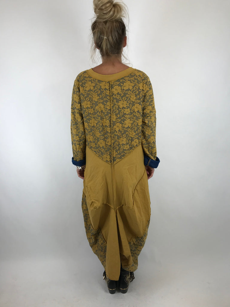 Lagenlook Made In Italy Damask Jacket in Mustard. code 5463