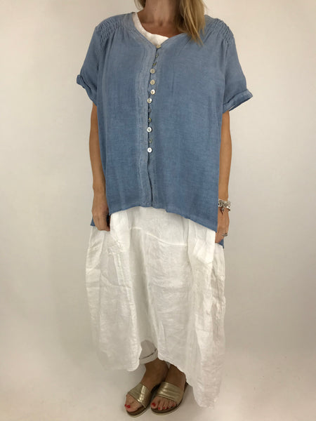 Lagenlook Sakina button top in Denim. Code 02055