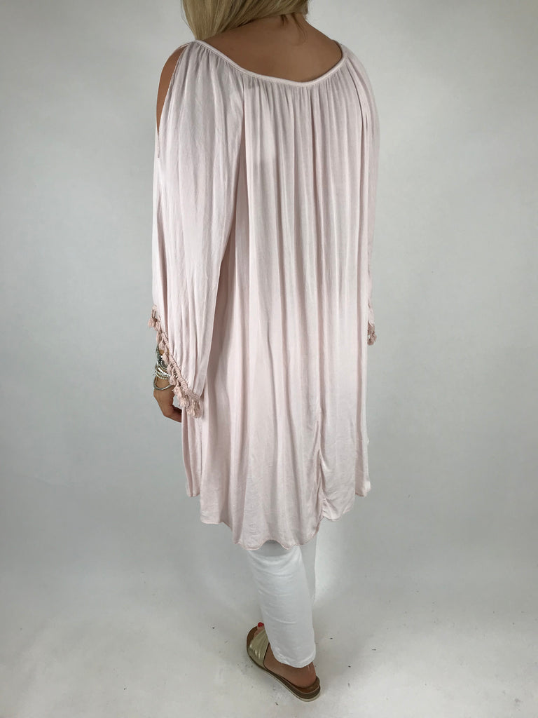 Lagenlook Layla Summer Tassel Top in Pale Pink.Code 5241
