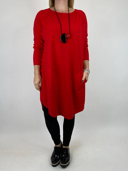 Lagenlook Amelie Button Side Jumper in Red. code 2560 - Lagenlook Clothing UK