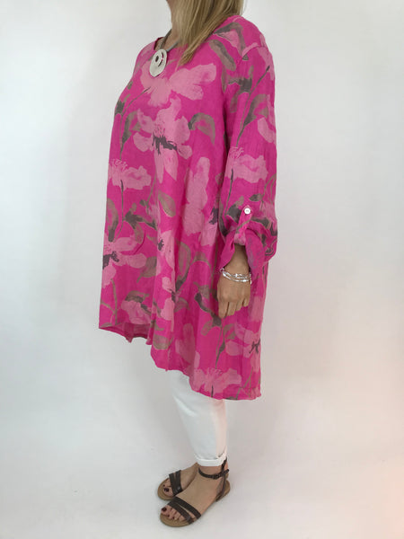 Lagenlook Flower Button back tunic in Fuchsia Pink. Code 5641