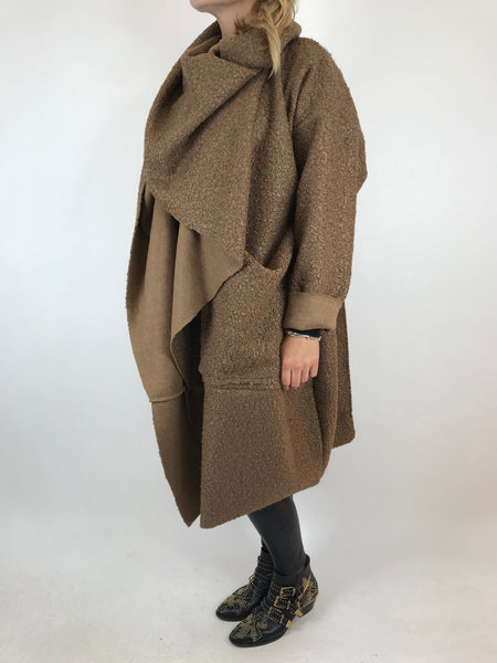 Lagenlook Verity Quirky Wrap Snood Plus Size in Mocha. code 5554