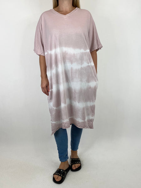 Lagenlook Cara Cotton Mix Tye-Dye V-Neck Top in Pink. code 6888 - Lagenlook Clothing UK