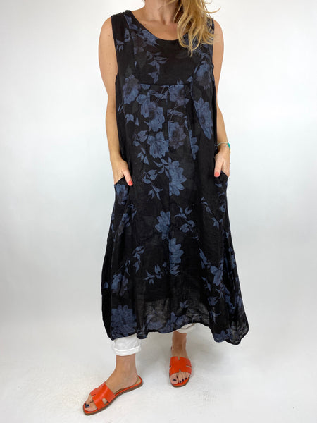 Lagenlook Nellie Linen Flower Regular size Dress in Black. Code 0839
