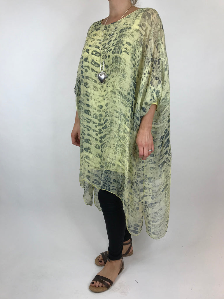 Lagenlook Snake Print Silk Poncho Top in yellow. code 1727s