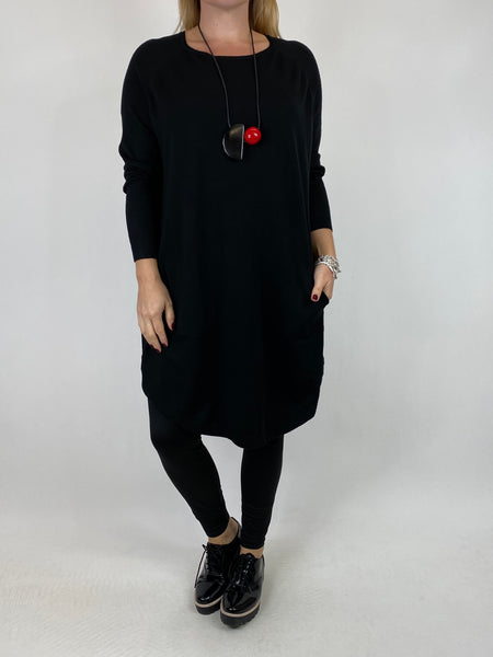 Lagenlook Amelie Button Side Jumper in Black. code 2560 - Lagenlook Clothing UK