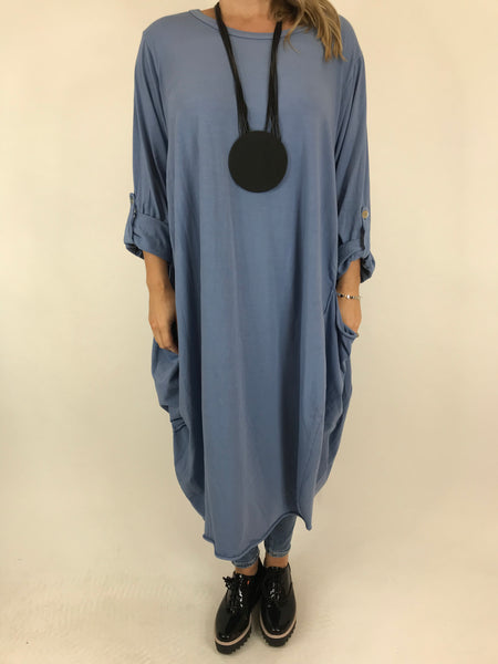 Lagenlook Alicia Pocket Tunic in Denim Blue.code 5626