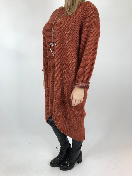 Lagenlook Nancy Winter Tunic in Rust. code 5532