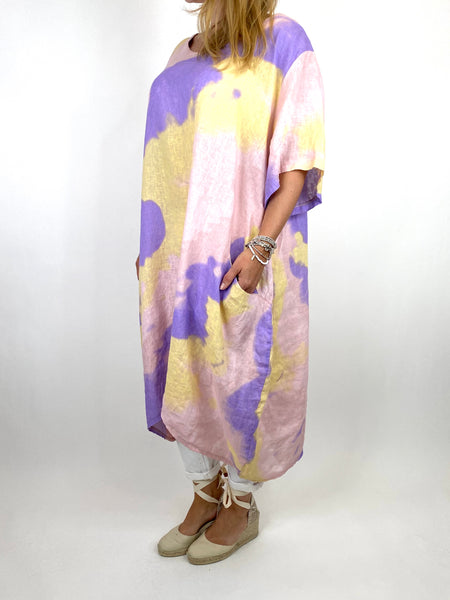Lagenlook Spray Linen Tunic in Pink Mix. code 90847 - Lagenlook Clothing UK
