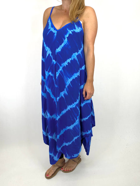 Lagenlook Arlo Tie-Dye Strap Regular Size Top in Royal Blue. code 9437