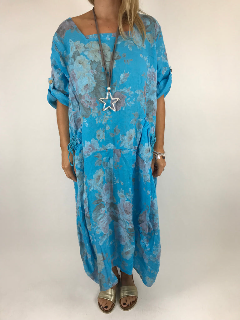 Lagenlook Floral Sleeved Linen Tunic in Aqua Blue. code 5314